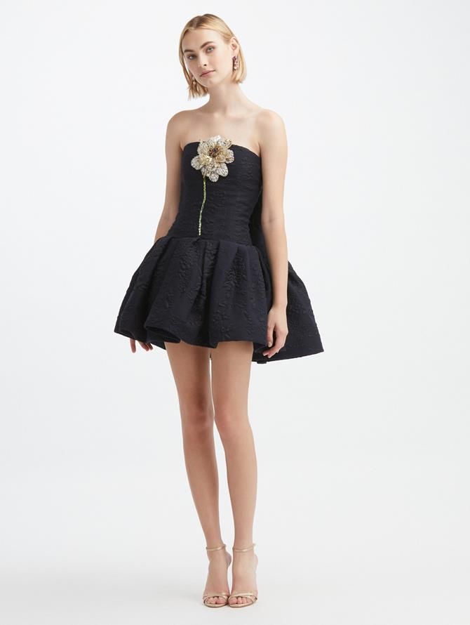Crystal Flower Cape-Back Dress