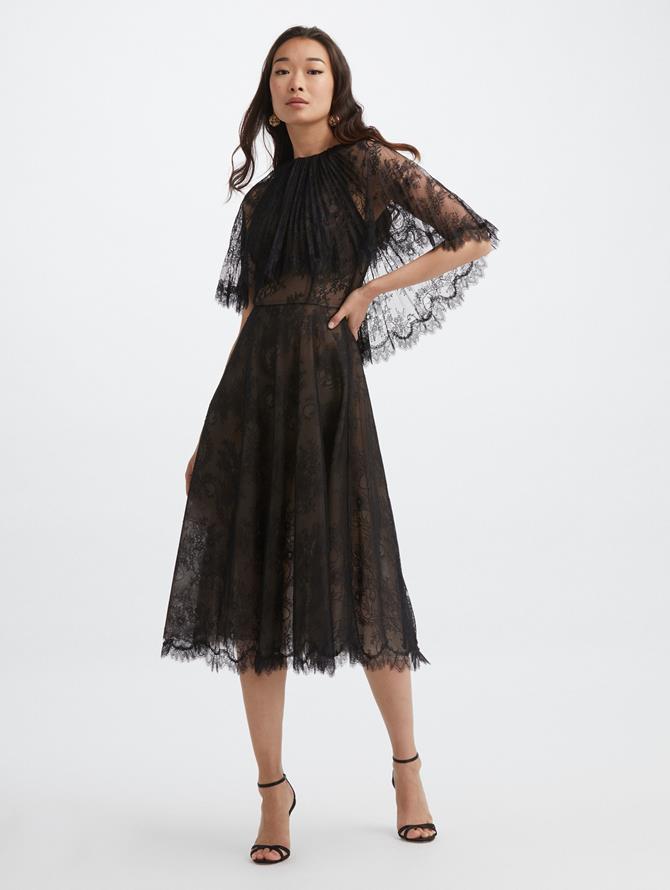 Lace Cape Cocktail Dress