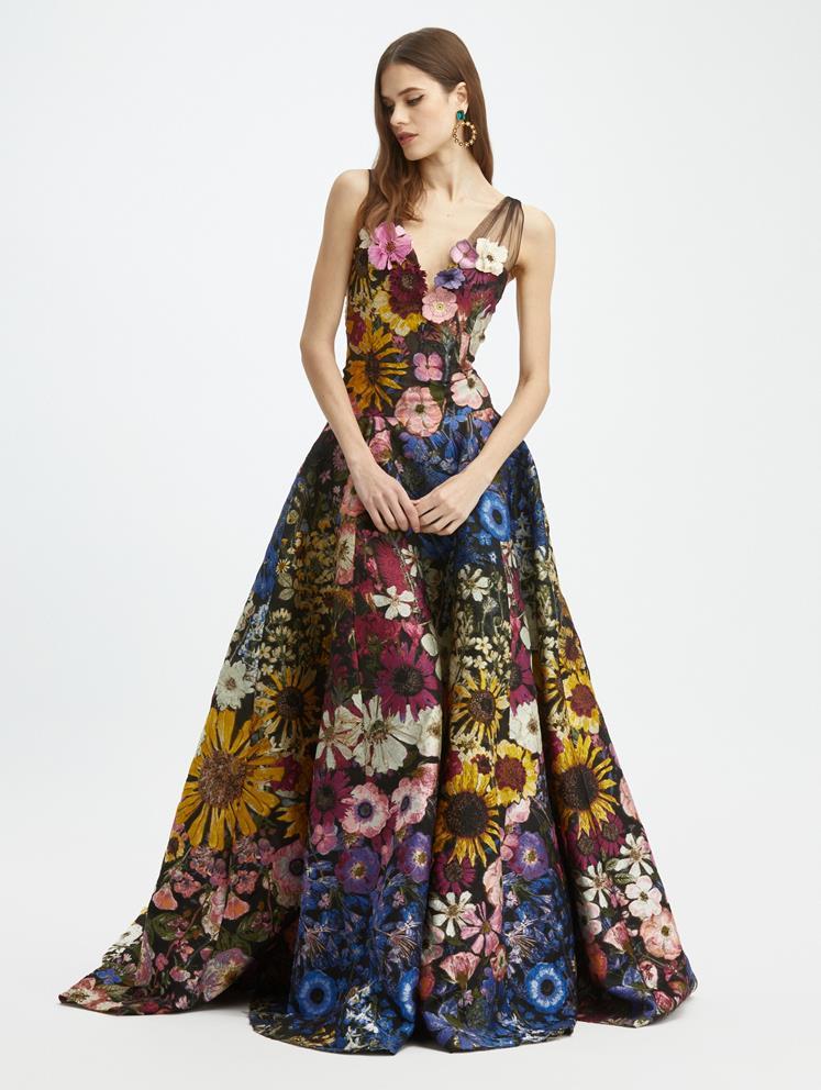 Pressed Flower Fil Coupé V Neck Gown