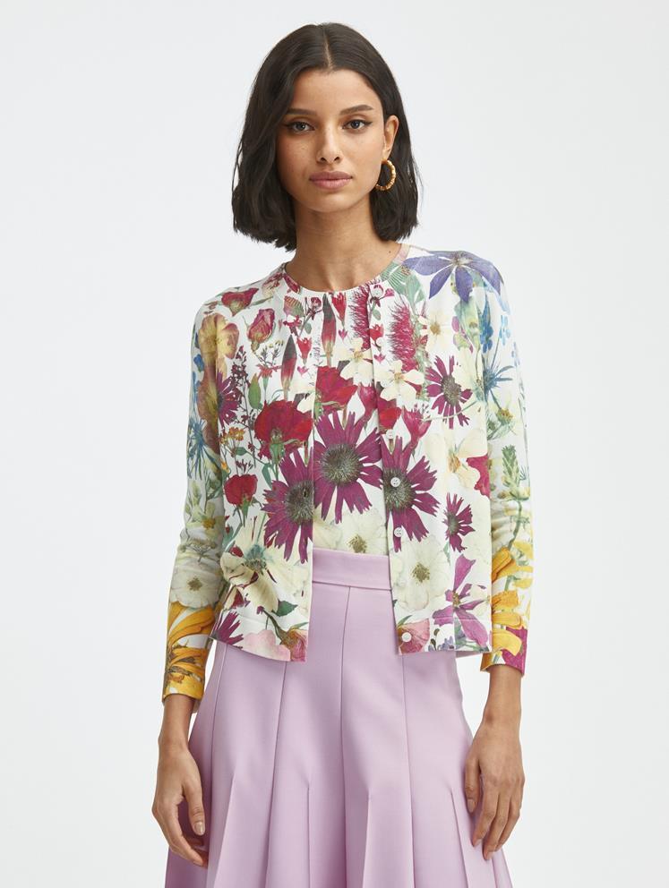 Pressed Flower Printed Knit Cardigan
