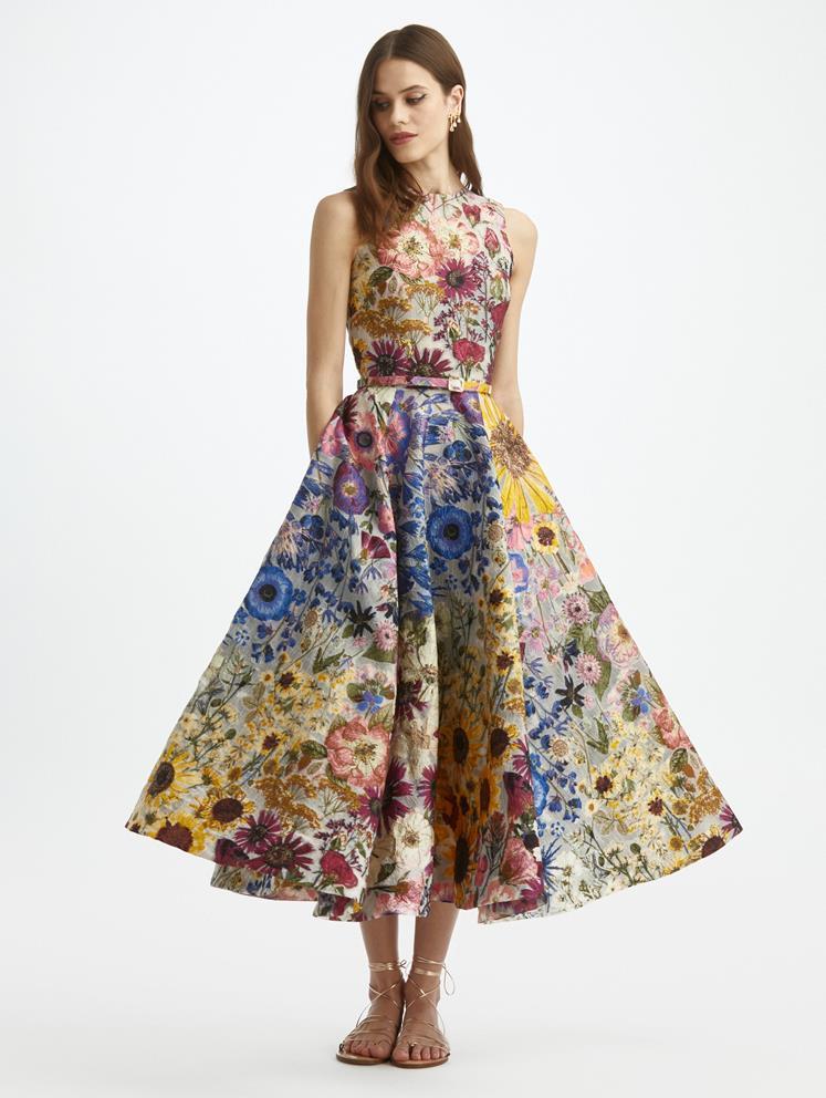 Pressed Flower Fil Coupé Sleeveless Cocktail Dress